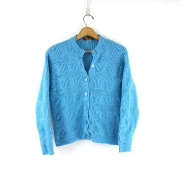 Blue Mid Century 1950s 60s Knit Sweater cardigan retro Pin Up girl vintage Mad Men 50s 60s top size womens Medium Louanne's Estate Sale