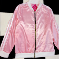 SWEET LORD O'MIGHTY! SILK KITTEN BOMBER IN PINK