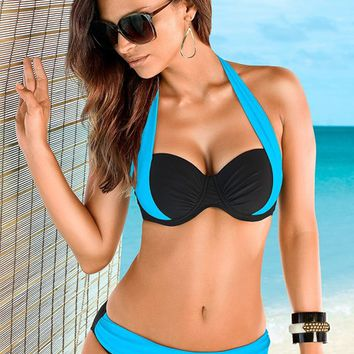 Turquoise & Black Color Block Push Up Bra Top Bikini | VENUS