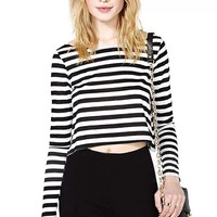 New Women Rock Girl Black and White Stripe Boat/Crew Neck Long Sleeve T-Shirt Short Crop Tee Casual Tops Blouse_T-shirt_Women's Tops_Women_The Latest Trends & Fashion Clothing For Women Online Store-www.dressin.com
