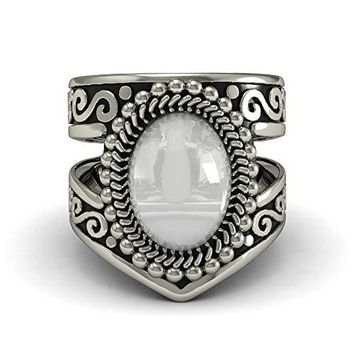 EVBEA Moonstone Ring Vintage Native American Navajo Jewelry Statement Silver Color Band Ring Women