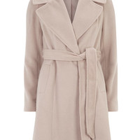 Blush Belted Fit And Flare Coat
