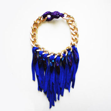 AURORA - Fringe Necklace Electric Blue Aura Quartz Necklace Quartz and Suede Bold Chain Choker Necklace Chunky Gold Chain Purple Gold