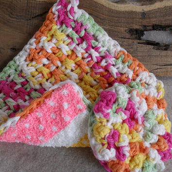 Kitchen Scrubbie Set Crochet with Cotton & Terry in pastels of pink, green, yellow, orange, white