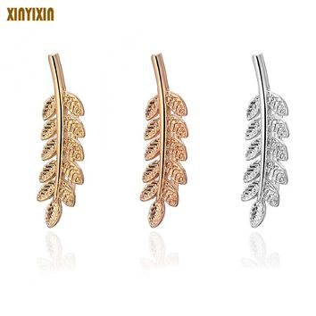 Silver Plated Environmental Protection Alloy Small Willow Leaf Wheat Earrings Seasons Farmland Style Style Love Nature For Women