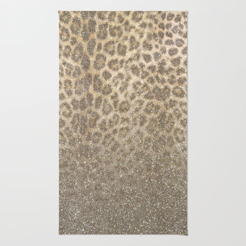 Shimmer (Golden Leopard Glitter Abstract) Area & Throw Rug by soaring anchor designs ⚓ | Society6