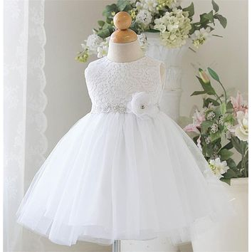 White Baby Wedding Dress Clothing Princess Toddler Baby Girl 1 Year Birthday Party Dress Tutu Kids Tulle Dresses For Girls 0-2Y