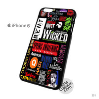 Broadway Musical Collage Art Phone Case For Apple,  iphone 4, 4S, 5, 5S, 5C, 6, 6 +, iPod, 4 / 5, iPad 3 / 4 / 5, Samsung, Galaxy, S3, S4, S5, S6, Note, HTC, HTC One, HTC One X, BlackBerry, Z10