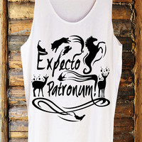 Expecto Patronum Deathly Hallows Harry Potter Magic Spells Handmade Tank Top Screen White Clothing  Womens Tee T Shirts Tshirts Shirt S M L