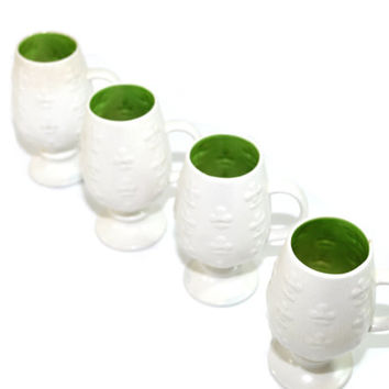 Vintage White Ceramic Mugs Holt Howard Shamrock Mugs Irish Coffee Mugs Set of 4