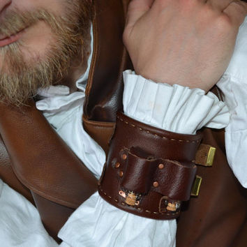 Men's Steampunk Apothecary Bracer - leather cuff with bottles and brass buckles