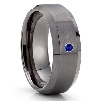 Blue Sapphire Tungsten Ring - Gray Tungsten Ring - Men's Tungsten Ring - 8mm