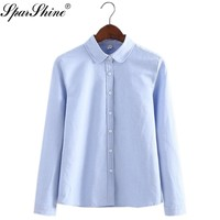 Women Blouse 2017 New Casual Long Sleeved Cotton Oxford  Candy Colors Shirt Woman Office Shirts Excellent Quality Blusas Lady