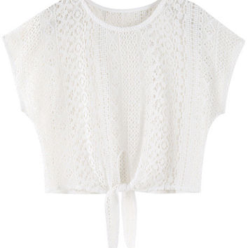 White Lace Bow Crop Top