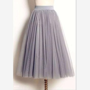 CREYET7 women Puff Mesh Tulle Skirt White Faldas High Waist Pleated Maxi Long Tulle Skirts Plus Size 3 Layers With Liner