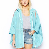 Brave Soul Light Weight Anorak With Contrast Drawstring