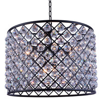 "Madison Pendent Lamp, 27.5"" W x 21"" H Mocha Brown Finish (Royal Cut Crystals)"
