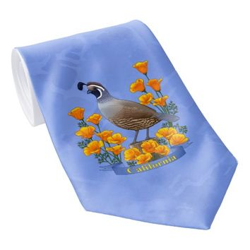 California State Bird Quail & Golden Poppy Tie