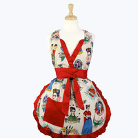 Colorful Frida Kahlo V-Cut Apron