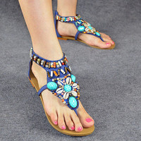 Classic Women's Bohemian Rainbow Beads with Rhinestone Embellished Flip-flop Flat Sandals