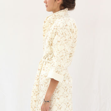 Lina Rennell Organic Cotton Robe Lace Brown