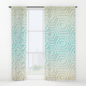 3D Hexagon Gradient Minimal Minimalist Geometric Pastel Soft Graphic Window Curtains by AEJ Design