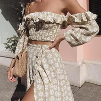 Off Shoulder Floral Matching Set