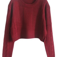 PrettyGuide Women Loose Cable Knit Crop Jumper Sweater