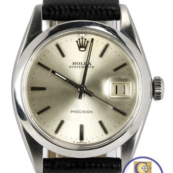 Vintage Rolex Oysterdate Precision 6494 Stainless Silver 34mm Date Leather Watch