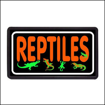 "Reptiles Backlit Illuminated Electric Window Sign - 13""x24"""