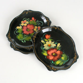 Collectible Russian Khokhloma Style Trays Soviet Folk Art Hand Painted Floral