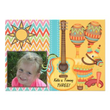 Custom Photo Fiesta Birthday Invitation