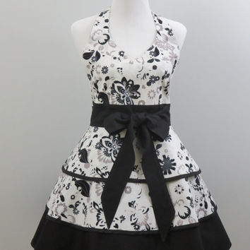Womens Apron, Halter Style, Retro Inspired, Full Triple Layered Skirt, Black, White & Grey Flowered, 100% Premium Cotton