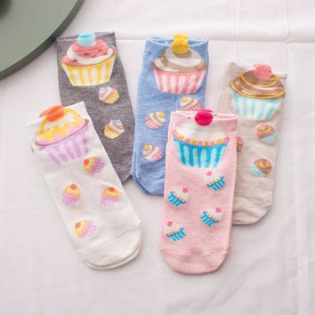 Foot 22-25cm Cupcake No-shown Ankle Socks Two Pieces Broke Girls Fairy Patty Cup Cake Bun Dessert Mousse Pinky Cream Sugar Milk