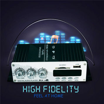 USB Mini Super Bass Stereo Car Amplifier audio Amplifier USB DVD CD with FM MP3 USB Mini Super Bass Stereo Remote Controller