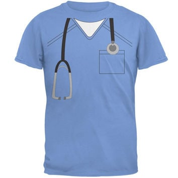 Halloween Doctor Scrubs Costume Carolina Blue Adult T-Shirt