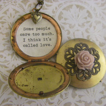Friendship Locket Necklace Pooh Quote Some people care too much I think it's called Love mauve rose heart  vintage Ships quick USA made