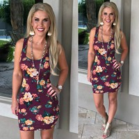 Something About This Floral Print Dress: Burgundy