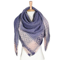 Women's Blue Aztec Print on Edge Blanket Scarf
