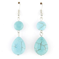Simple Silver-tone Natural Turquoise Stone Dangle Drop Earrings