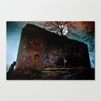 Full moon over a castle ruin Canvas Print by Pirmin Nohr