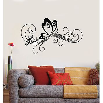 Vinyl Wall Decal Butterfly Music Musical Nature Wings Summer Melody Stickers Mural (g848)