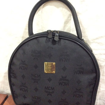 Vintage Authentic MCM Monogram Black Canvas and Leather Satchel Bag Handbag