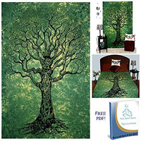 Your Spirit Space (TM) Green Tree of Life Tapestry-Good Luck. Quality For Home or Dorms Psychedelic Hippie Islamic Asian Contemporary Canvas Wall Hanging Art. The Ultimate Bohemian Tapestry Decor.