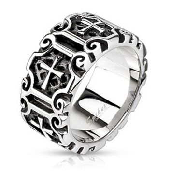 Medieval Cross Ornamental Cast Ring Stainless Steel