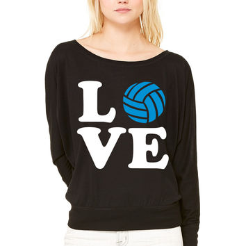 Volleyball WOMEN'S FLOWY LONG SLEEVE OFF SHOULDER TEE
