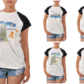 Women Watercolor famous place painting Printed T-shirt WTS_04