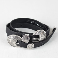 Round Etched Double Buckle Belt