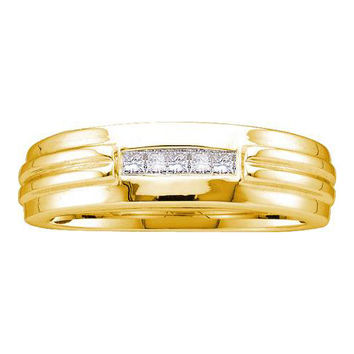 14k Yellow Gold 0.15Ctw Diamond Mens Invisible  Wedding Ring Band: Ring