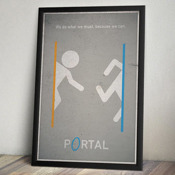 Portal Inspired Vintage Poster - Think With Portals